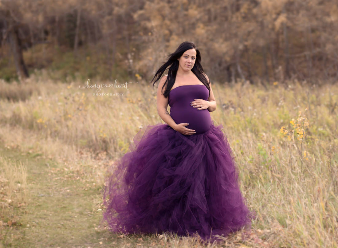 Eggplant purple tulle maternity dress outside photo shoot fall colours