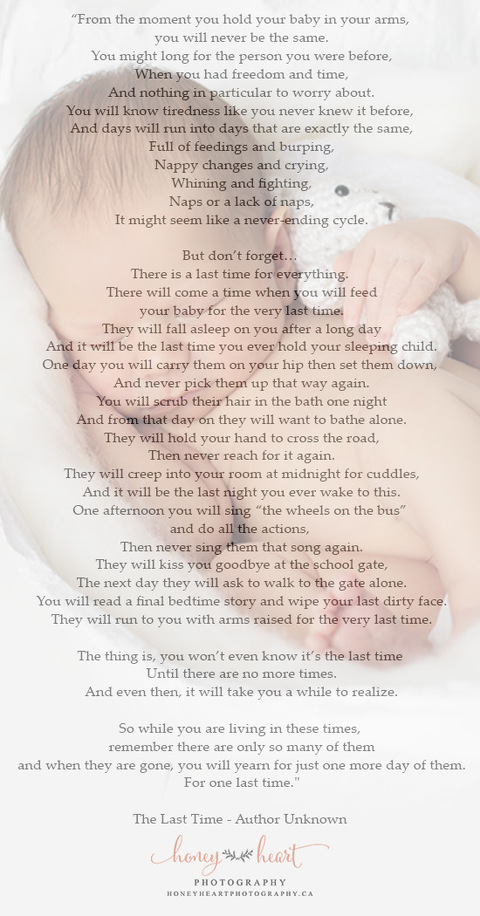 Sleeping baby holding teddy bear with the last time poem image copyrighted by Calgary Newborn Photographer Honey Heart Photography