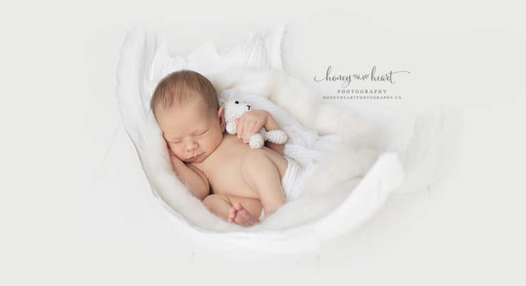 Newborn baby boy sleeping in moms belly cast Calgary Alberta studio session Calgary Maternity & Newborn Photographer