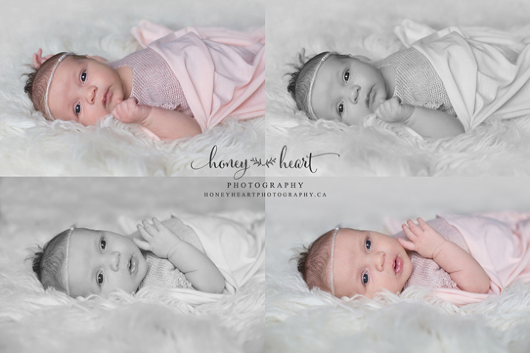 Awake newborn baby girl laying on cream flokati wrapped in pink knits and pearls newborn photographer Calgary AB