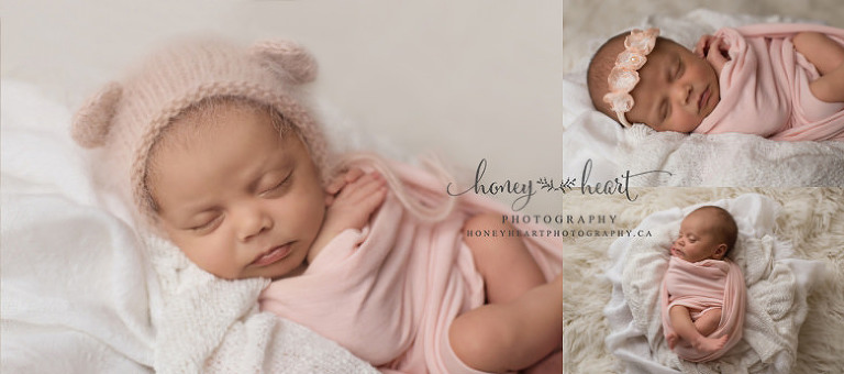 Newborn baby girl wrapped in blush pink wearing blush pink angora bear bonnet Newborn Photographer Calgary AB