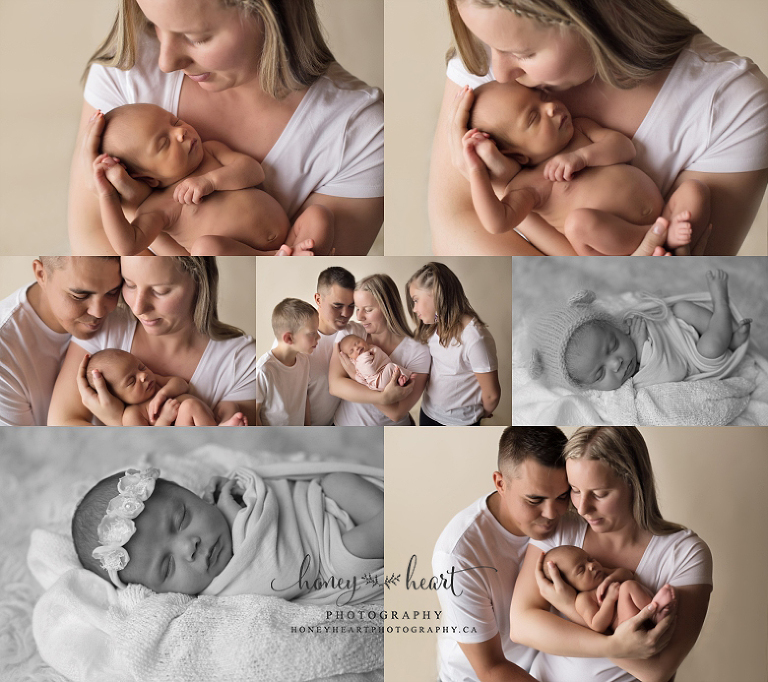 Collage of family photos during newborn session newborn with mom, dad and siblings