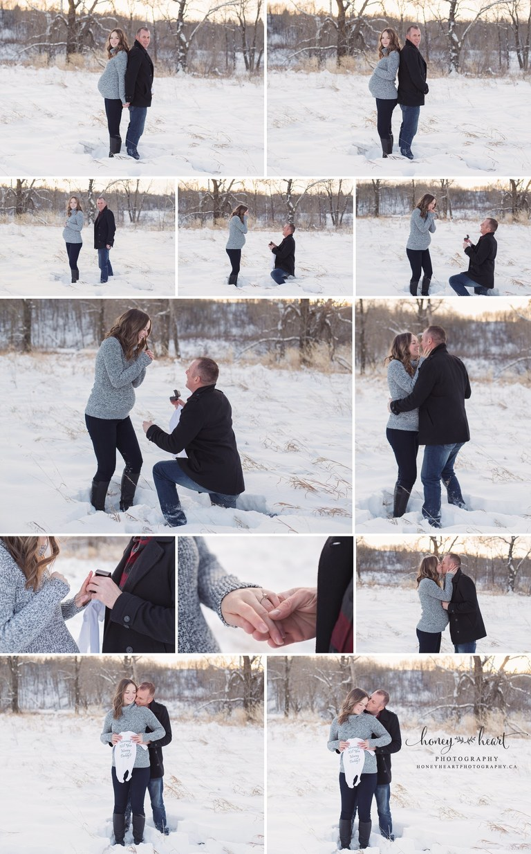 Winter Maternity pictures soon to be dad proposing to expectant mom snow maternity pictures engagement ring baby onsie cut saying about marriage Calgary Proposal Photographer
