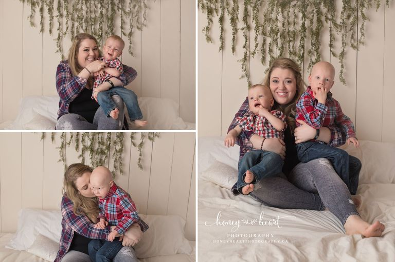 Mom with her two children mommy and me mini session calgary baby family photographer