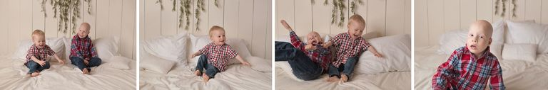 Two brothers playing on bed studio photography Calgary Children's photographer
